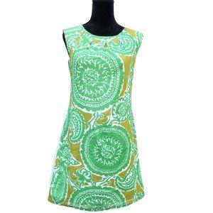 Merona Green Mustard Yellow Paisley Sheath Dress 6